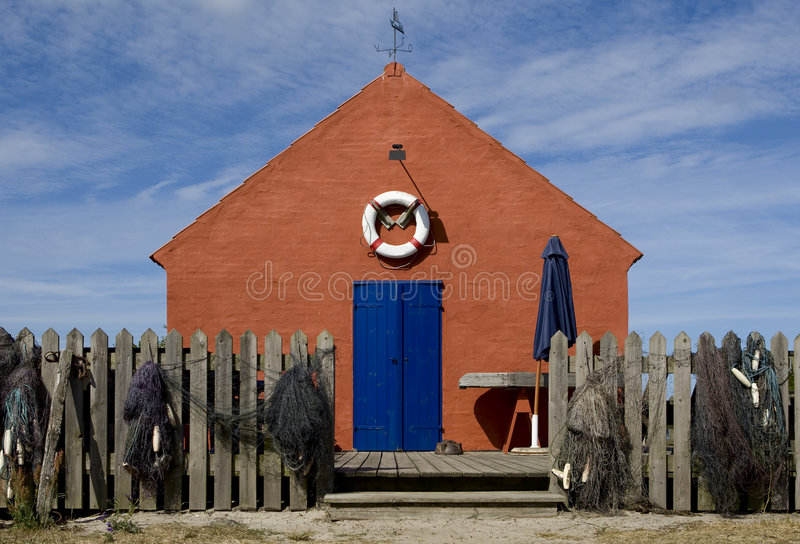 Casa del pescador en Bornholms, Dinamarca imágenes de archivo libres de regalías