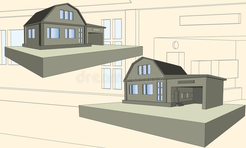 Casa del piso con el garaje stock de ilustración