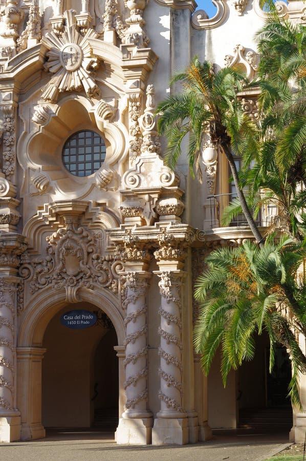 Casa Del Prado w balboa parku, San Diego zdjęcie royalty free