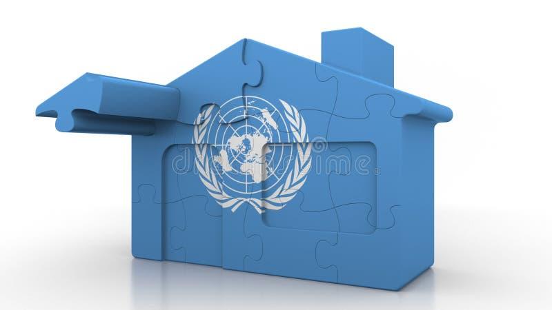 Casa del rompecabezas del edificio que ofrece la bandera de los Naciones Unidas Representación conceptual editorial 3D stock de ilustración