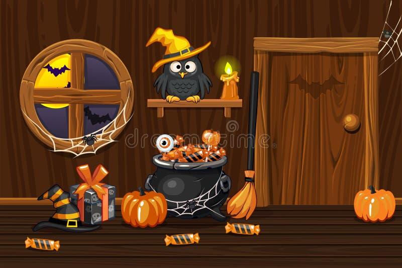 Casa del sótano, sitio de madera interior del ejemplo con los símbolos de Halloween libre illustration