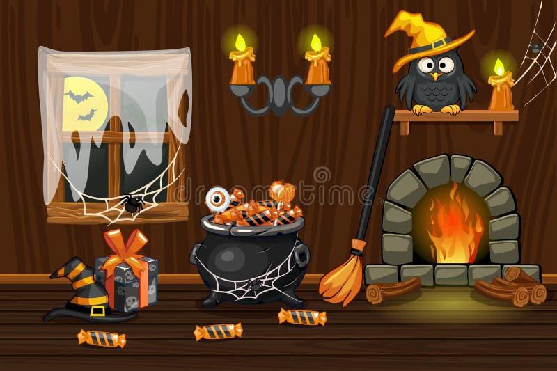 Casa del sótano, sitio de madera interior del ejemplo con los símbolos de Halloween y chimenea ilustración del vector