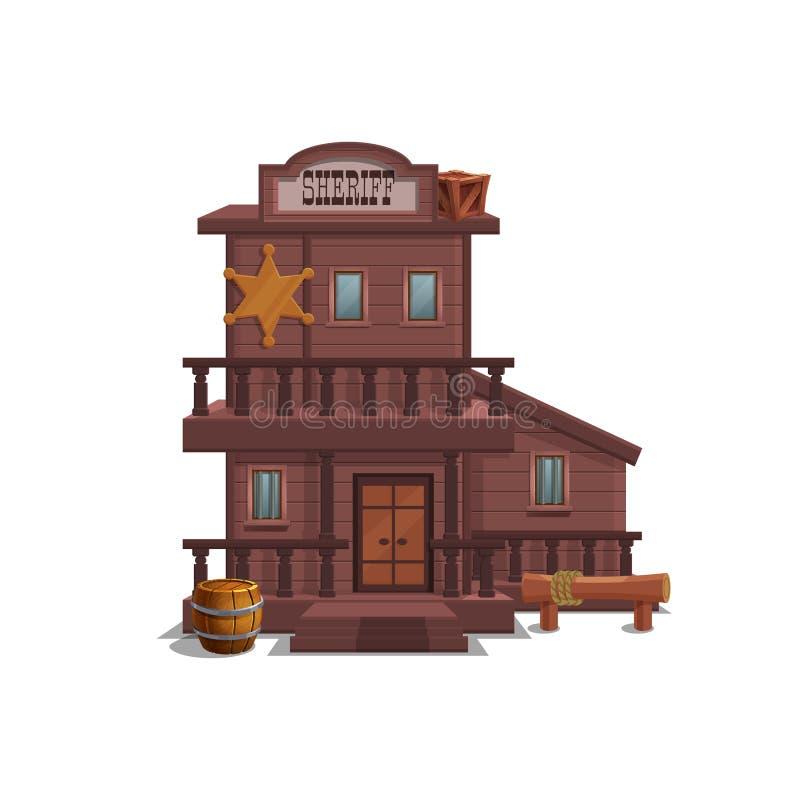 Casa del sheriff para la ciudad occidental para el nivel del juego y fondo aislado en el fondo blanco Diseño constructivo - oeste stock de ilustración