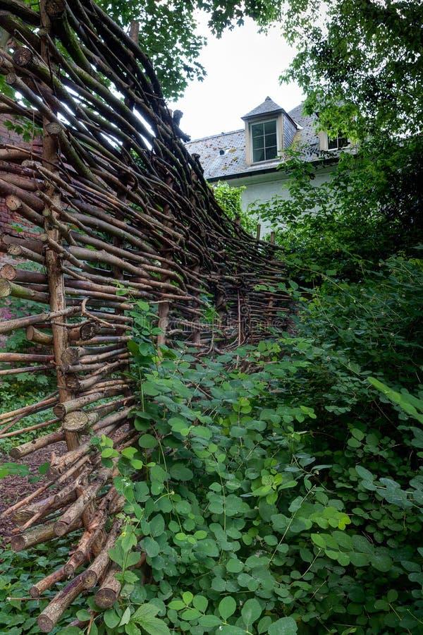 Casa del tejado de la cerca del sauce, Lovaina, Bélgica foto de archivo libre de regalías