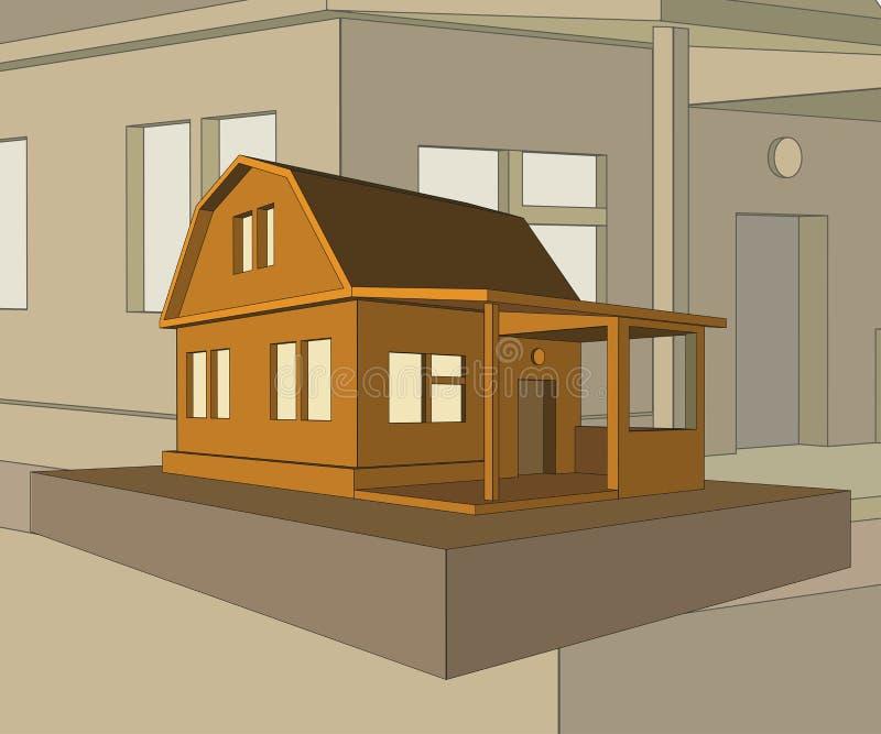 Casa del villaggio con un portico fotografie stock