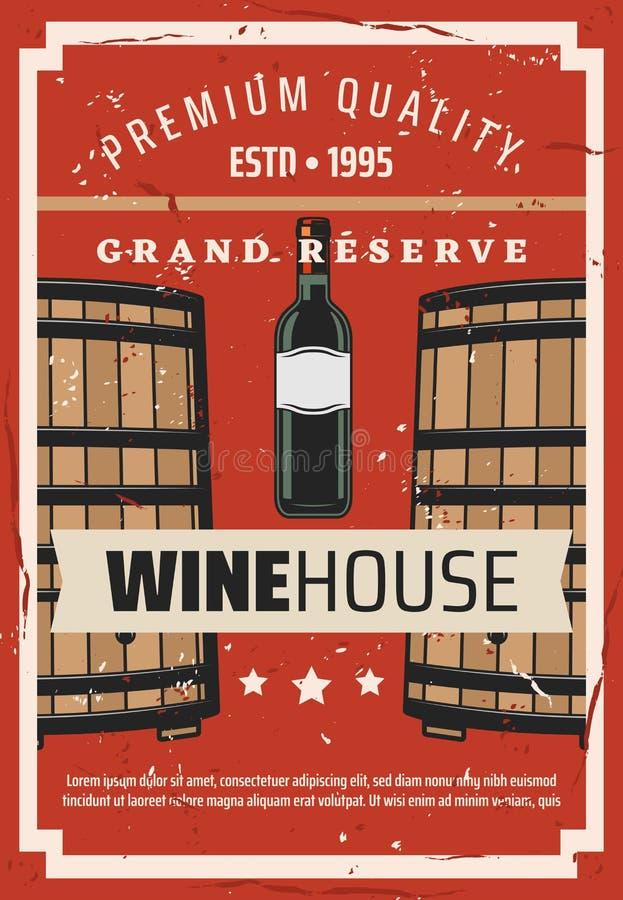 Casa del vino, botella de la vinificación y barril stock de ilustración