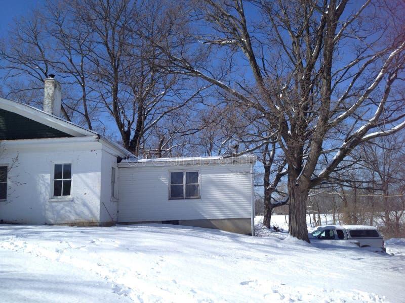 Casa del XVIII secolo dell'azienda agricola a Cincinnati Ohio nell'inverno fotografia stock libera da diritti