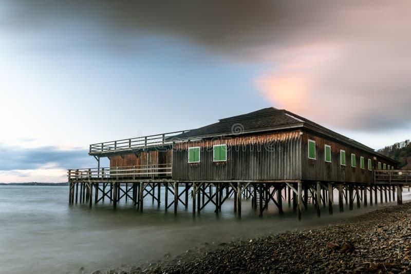 Casa del zanco en la orilla del lago de Constanza en Bregenz foto de archivo libre de regalías