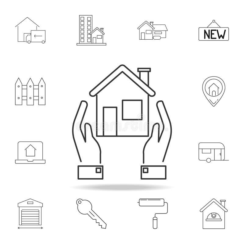 Casa dell'icona Insieme delle icone dell'elemento del bene immobile di vendita Progettazione grafica di qualità premio Segni, ico royalty illustrazione gratis