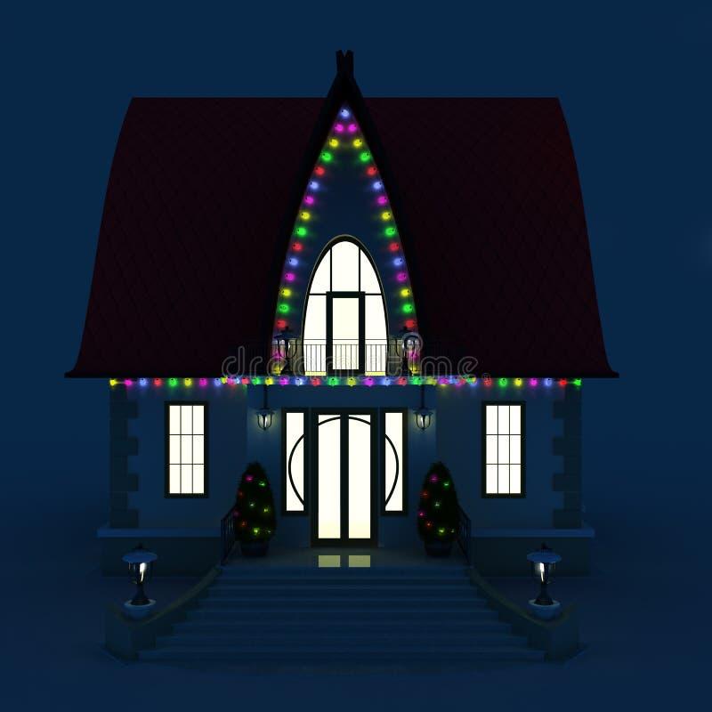 casa della famiglia con gli indicatori luminosi di natale d'ardore illustrazione di stock