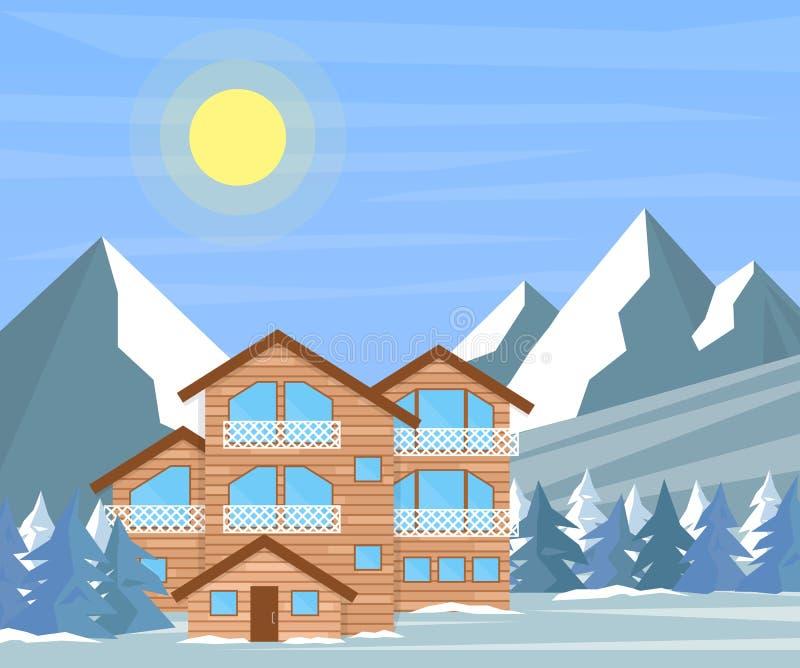 Casa della famiglia di inverno o della stazione sciistica per le feste di natale illustrazione vettoriale