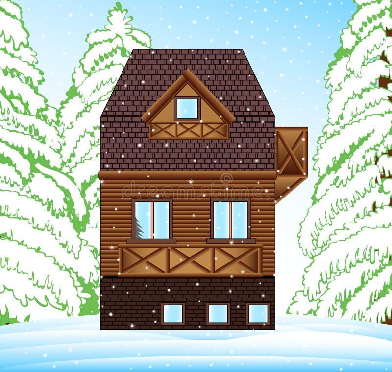 Casa della famiglia di inverno di vettore nella foresta intorno agli alberi e agli snowhills royalty illustrazione gratis