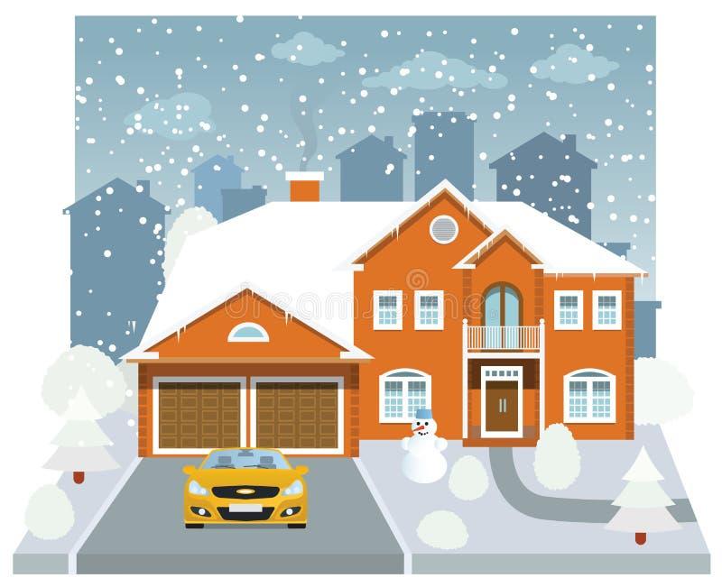 Casa della famiglia nell'inverno (diorama) illustrazione di stock