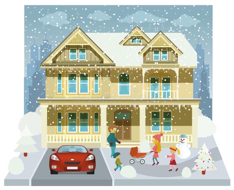 Casa della famiglia nell'inverno (diorama) illustrazione vettoriale