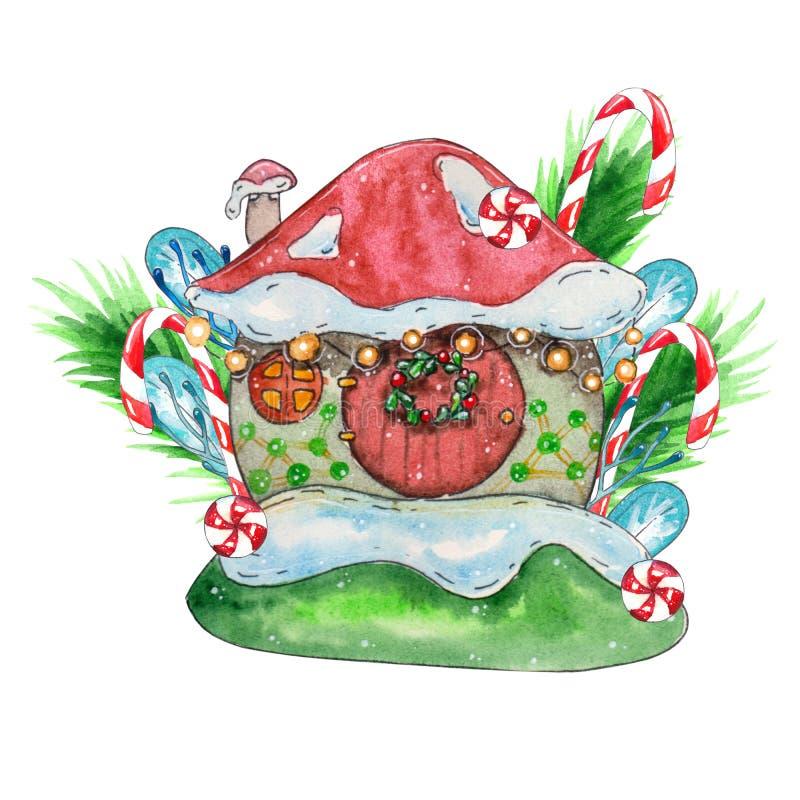 Casa della neve, illustrazione dell'acquerello di una casa sveglia illustrazione di stock