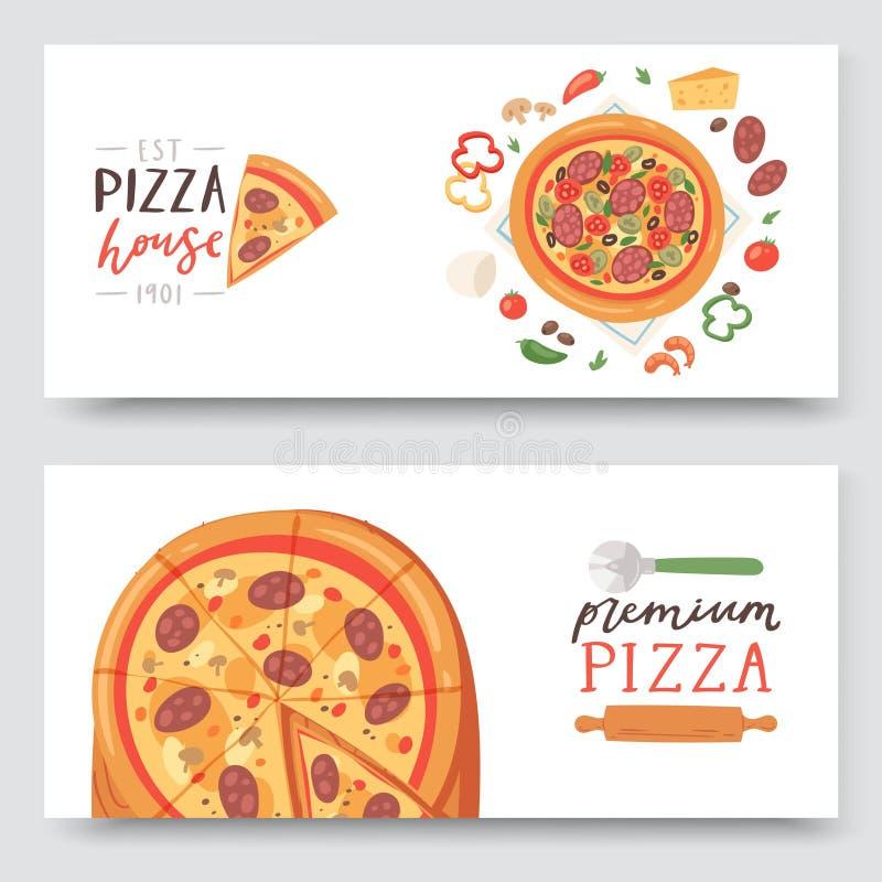Casa della pizza con gli ingredienti ed i tipi differenti di insiemi delle fette della pizza dell'illustrazione di vettore delle  royalty illustrazione gratis