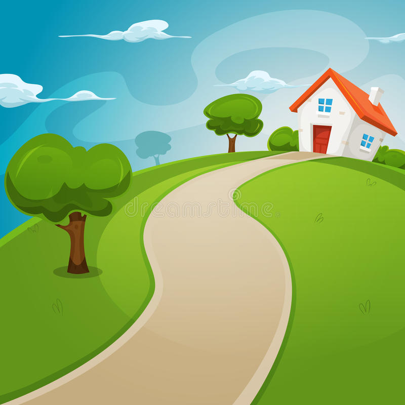 Casa dentro de campos verdes stock de ilustración