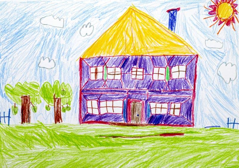 Casa Desenho da mão do lápis da criança ilustração royalty free