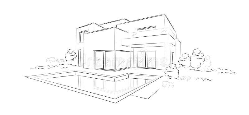 Casa destacada moderna do esboço arquitetónico linear do vetor ilustração stock
