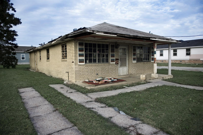 Casa Destructed após o furacão Katrina foto de stock