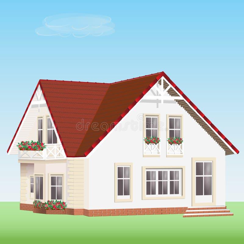 Casa detallada moderna del vector con las flores Casa privada realista linda con el tejado rojo libre illustration