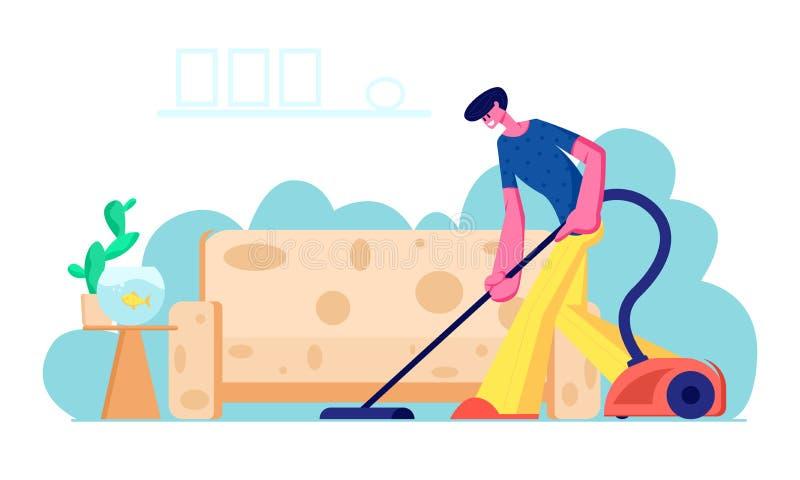 Casa di aspirazione del capofamiglia con l'aspirapolvere in salone Giovane che fa lavoro domestico, tappeto di pulizia del pavime illustrazione vettoriale