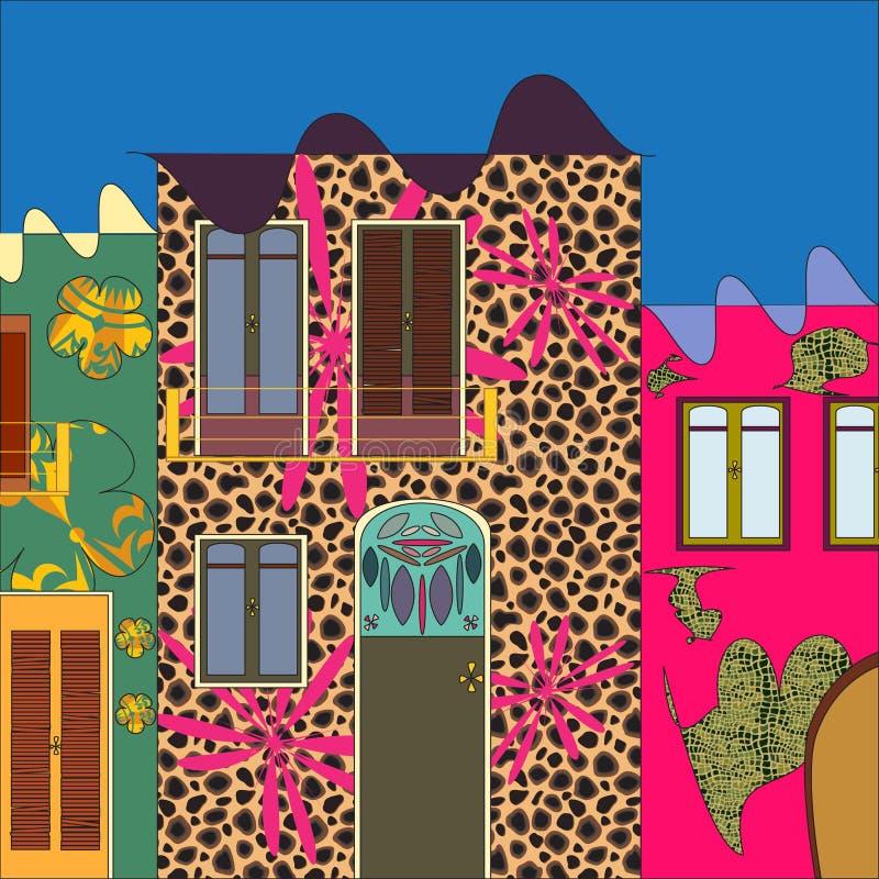 Casa di Bizzarre città di fantasia illustrazione di stock
