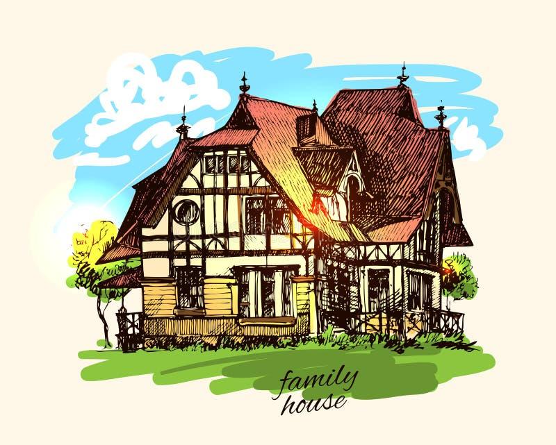 casa di campagna dell'illustrazione illustrazione vettoriale