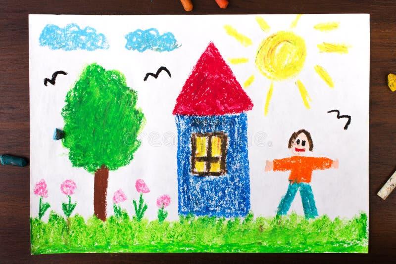 Casa di campagna ed uomini felici illustrazione di stock