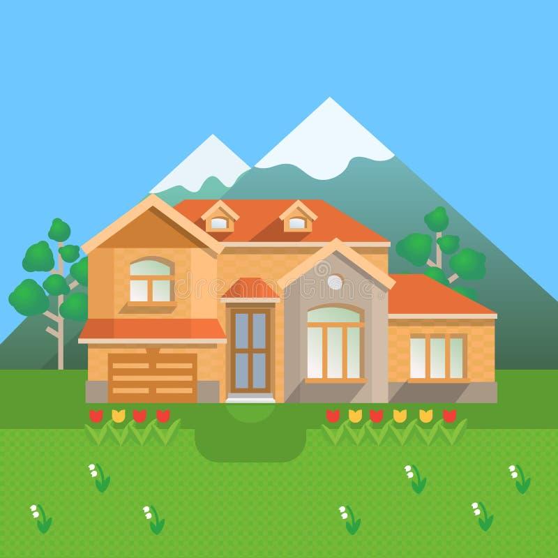 Download Casa Di Campagna In Montagne Illustrazione di Stock - Illustrazione di grande, cabina: 55352523