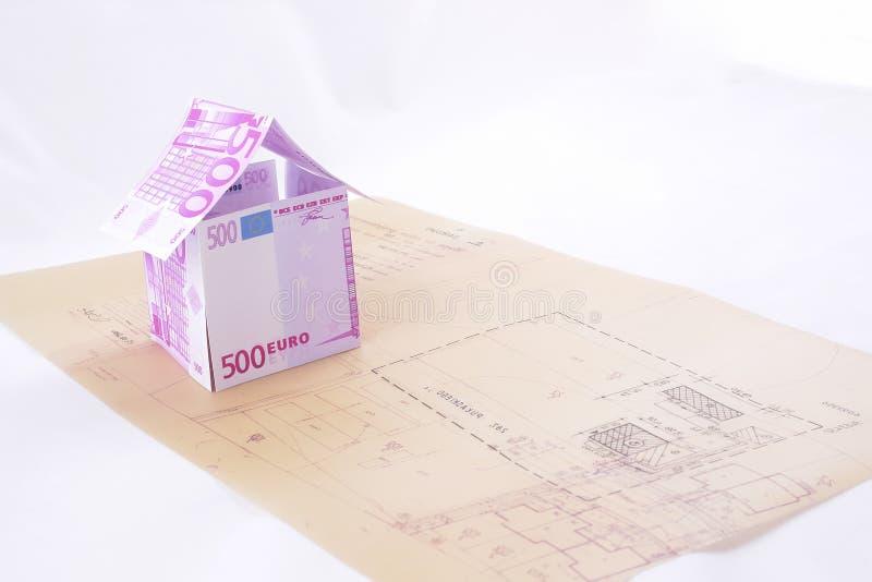Download Casa Di Carta Costruita Sulla Cianografia Immagine Stock - Immagine di costruzione, illustrazioni: 3882361