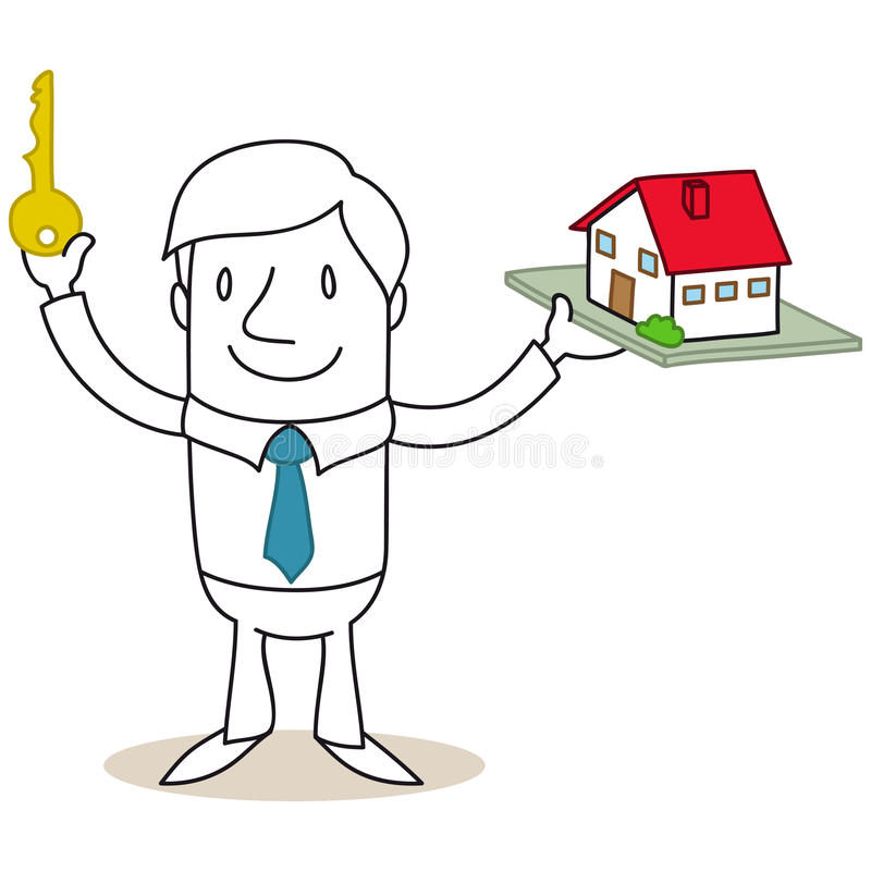 Casa di chiave e del modello della tenuta dell'agente immobiliare royalty illustrazione gratis