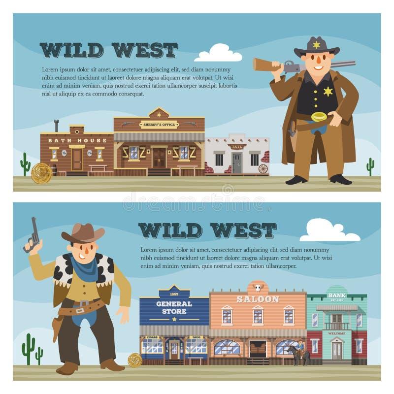 Casa di costruzione occidentale di vettore del cowboy del salone ad ovest selvaggio del carattere in contesto dell'illustrazione  royalty illustrazione gratis