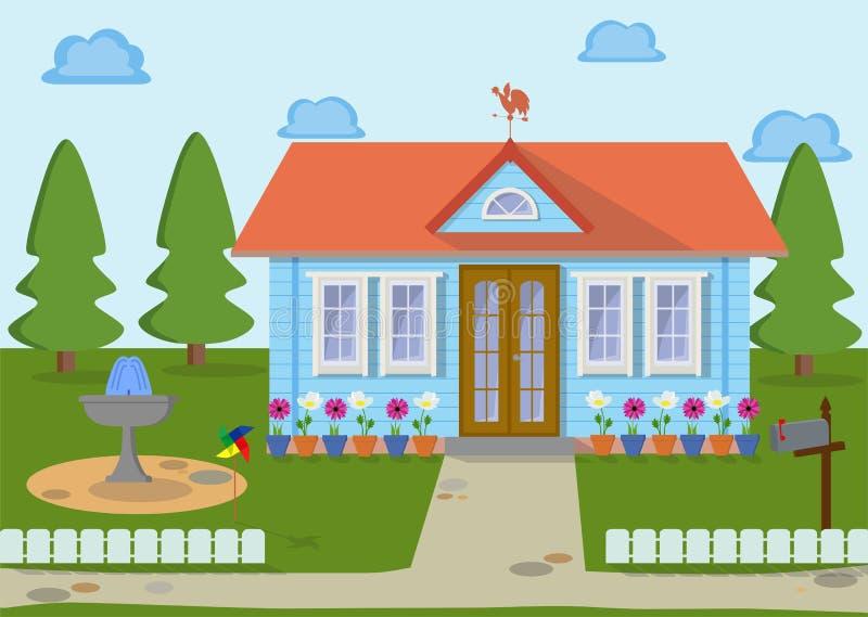 Casa di eco della famiglia sulla natura con prato inglese, gli alberi fontana ed i fiori verdi Illustrazione di vettore royalty illustrazione gratis