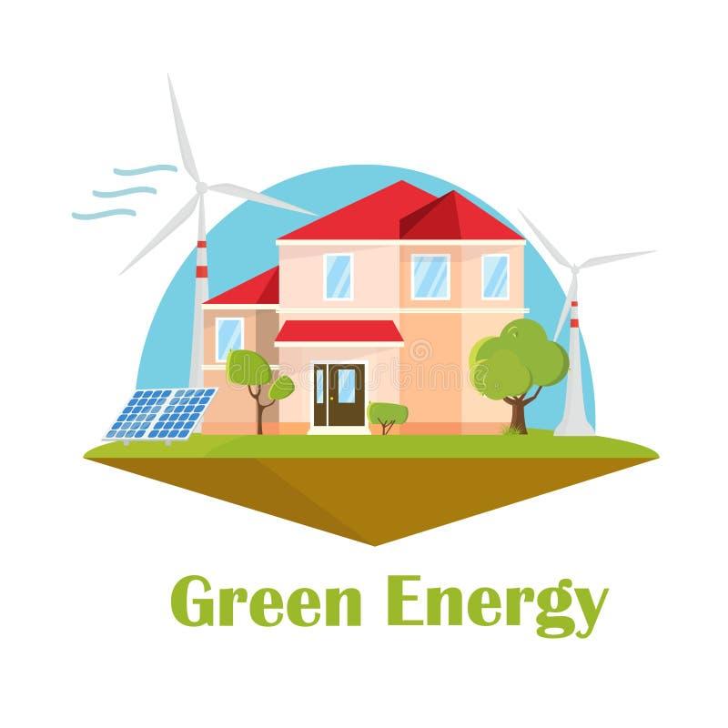 Casa di Eco Energia eolica solare Concetto verde di energia Costruzione piana di progettazione di ecologia illustrazione vettoriale