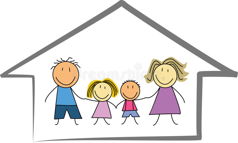 Casa di famiglia felice disegno di casa schizzo dei for Disegno casa interno