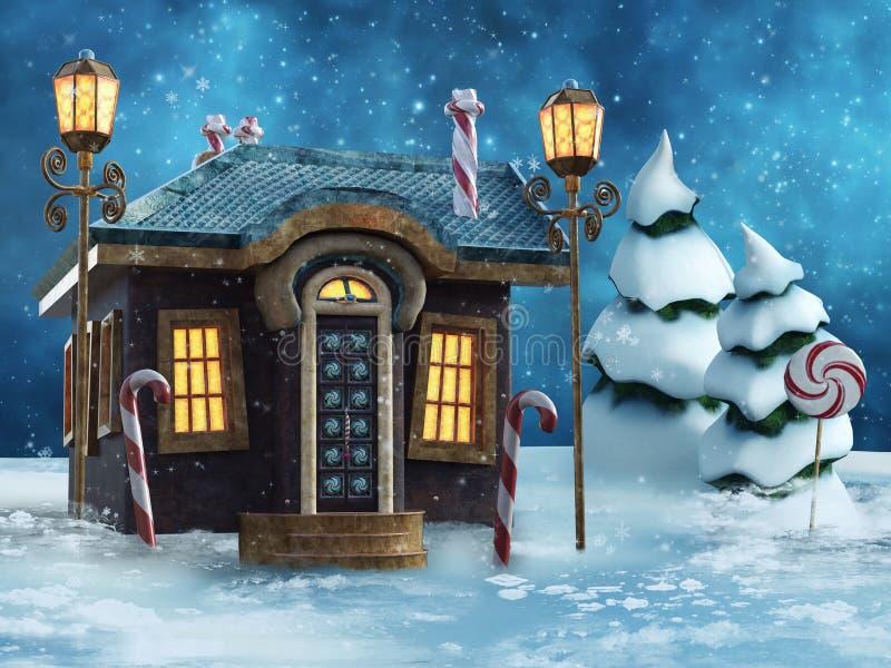 Casa di favola nell'inverno illustrazione di stock