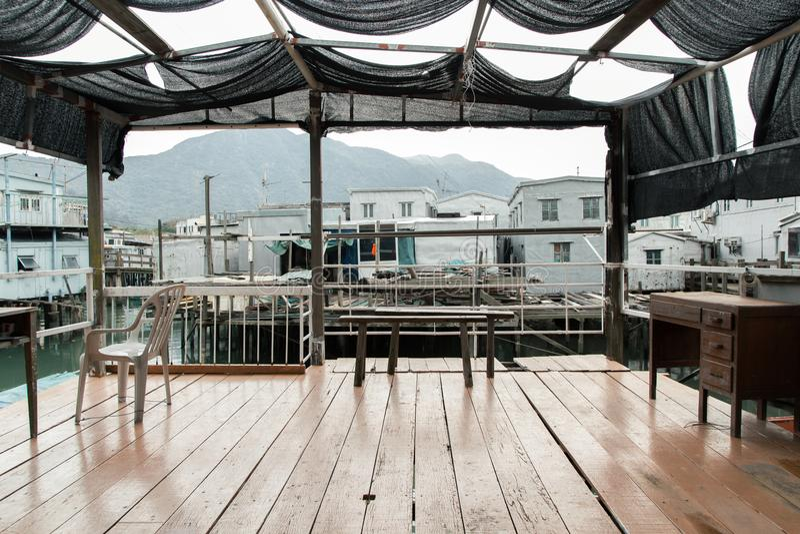 Casa di galleggiamento nel paesino di pescatori del Tai o, Hong Kong fotografie stock