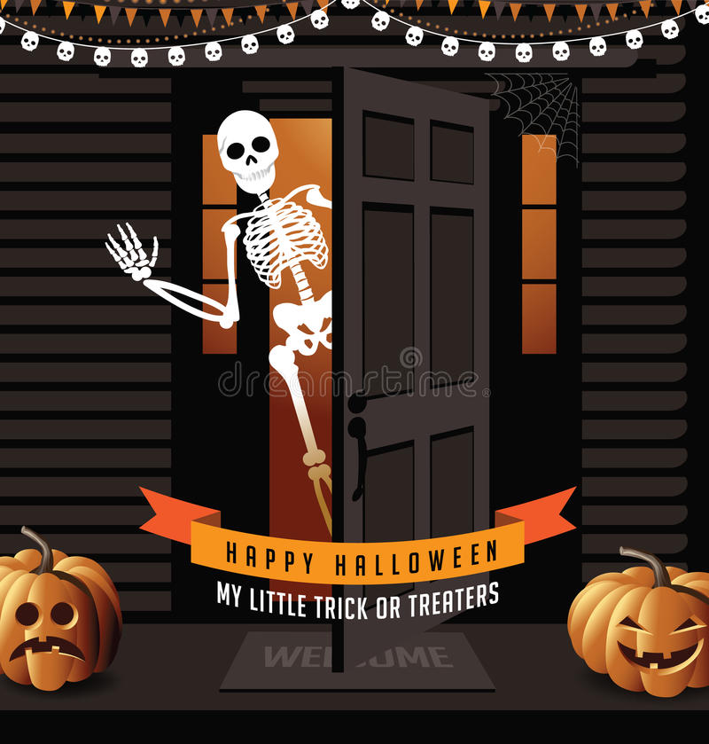 Casa di Halloween con le lanterne della presa o e lo scheletro d'ondeggiamento royalty illustrazione gratis