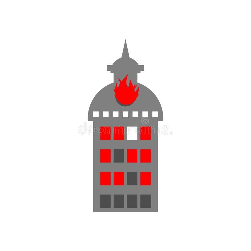 Casa di incendio doloso Fuoco in costruzione Fiamme dalle finestre dell'ufficio Ustione f illustrazione di stock