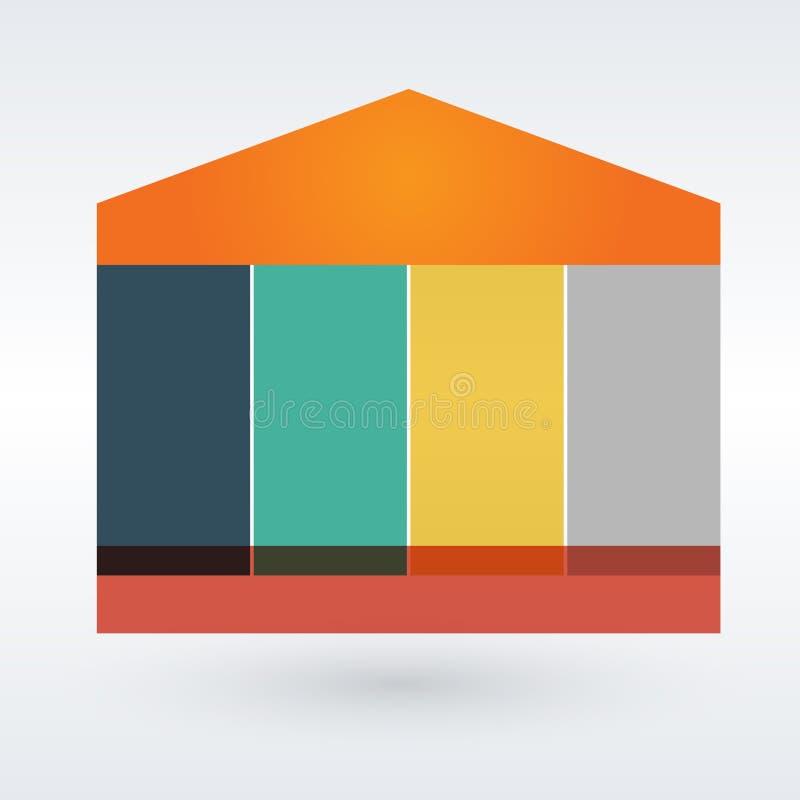 Casa di Infographic su sei pezzi sui precedenti grigi Illustrazione di vettore illustrazione vettoriale