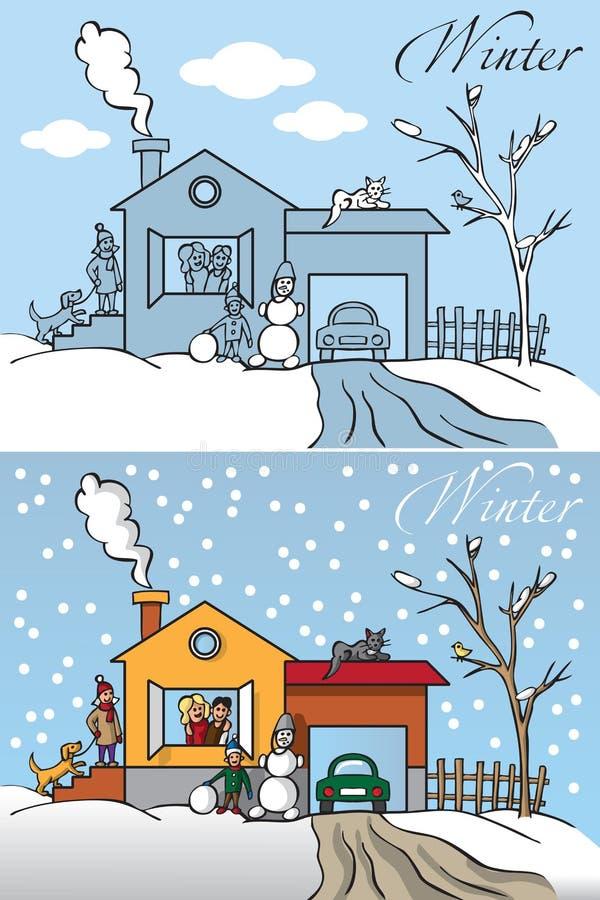 Casa di inverno della famiglia illustrazione di stock