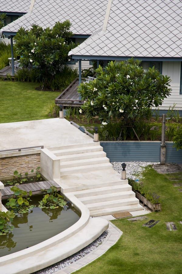 Casa di legno bianca moderna della scala immagine stock for Casa moderna bianca
