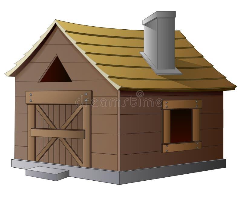 Casa di legno con il camino su fondo bianco royalty illustrazione gratis