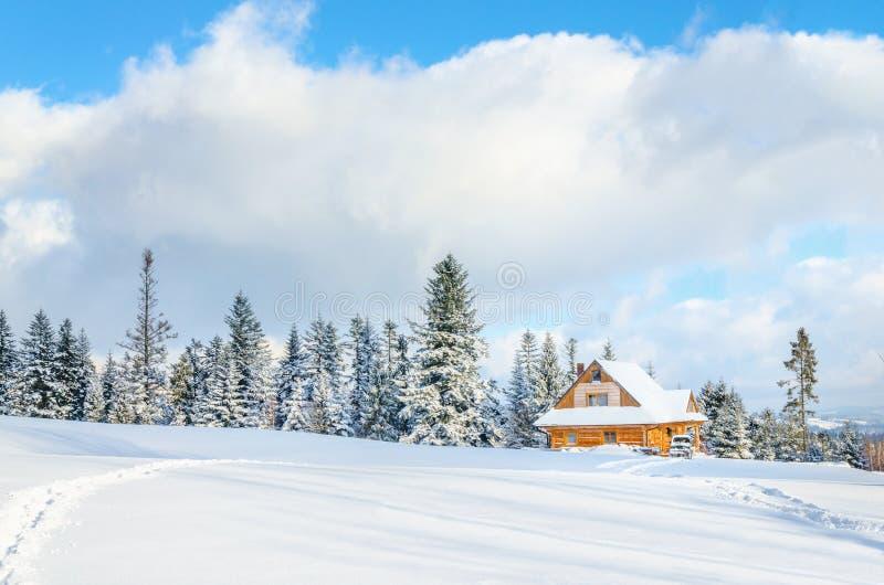 Casa di legno con la strada sotto la neve immagini stock libere da diritti