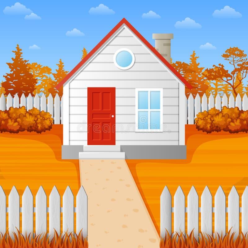 Casa di legno del fumetto nella stagione di caduta illustrazione di stock