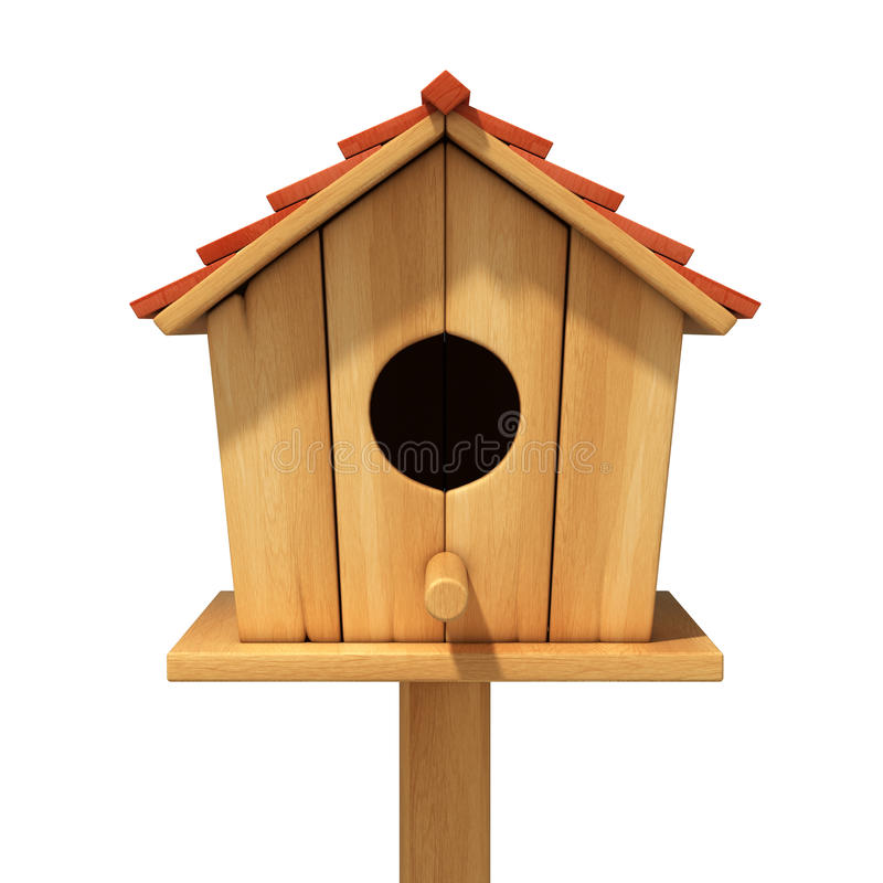 Casa di legno dell'uccello su bianco illustrazione di stock
