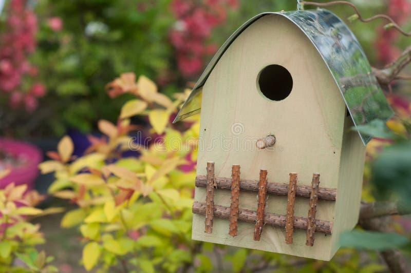casa di legno dell'uccello sull'albero in un giardino alla molla immagine stock