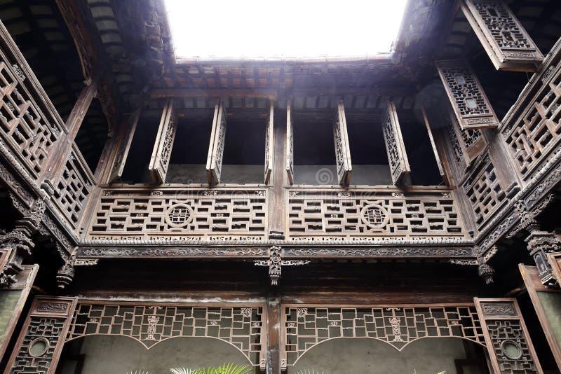 Casa di legno della struttura del cinese tradizionale fotografia stock libera da diritti