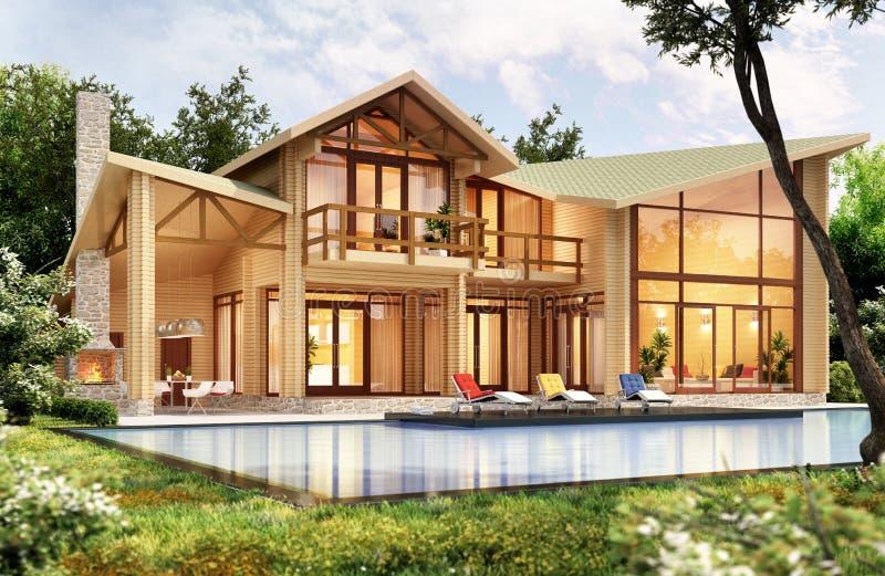 Casa di legno moderna con lo stagno fotografia stock libera da diritti